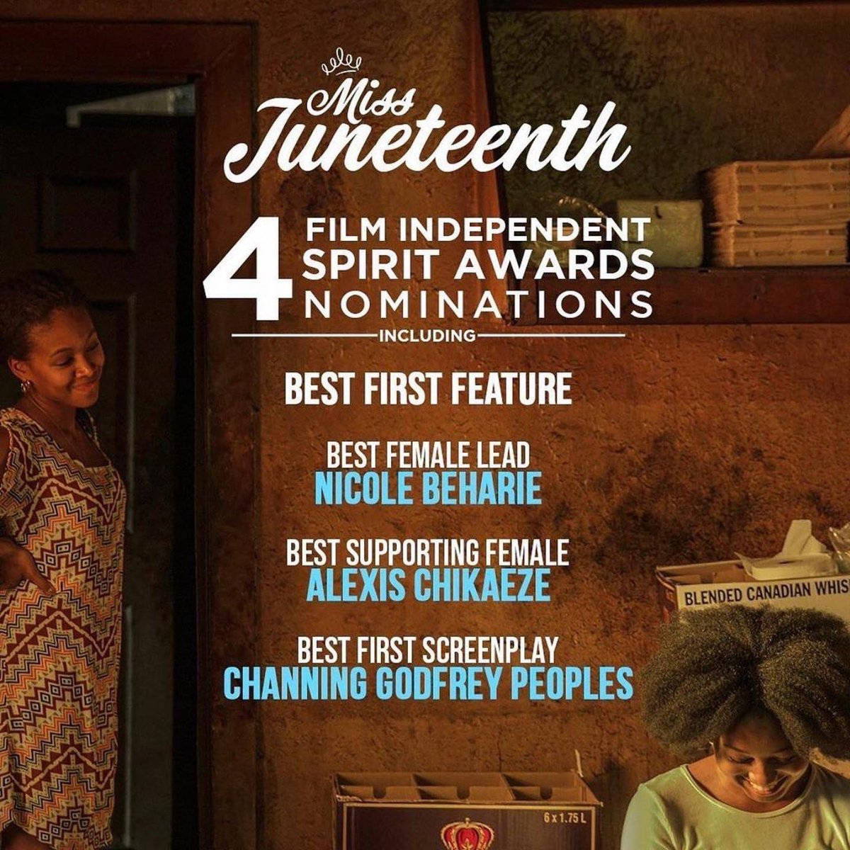 #MissJuneteenth was nominated for FOUR @filmindependent #SpiritAwards 😲!! Best First Feature & Best First Screenplay!!! This blew my mind! What an honor! Congratulations @AlexisChikaeze (Best Supporting Female) &  @NikkiBeharie (Best Female Lead)!!Thank you @filmindependent 🙏🏾👸🏾