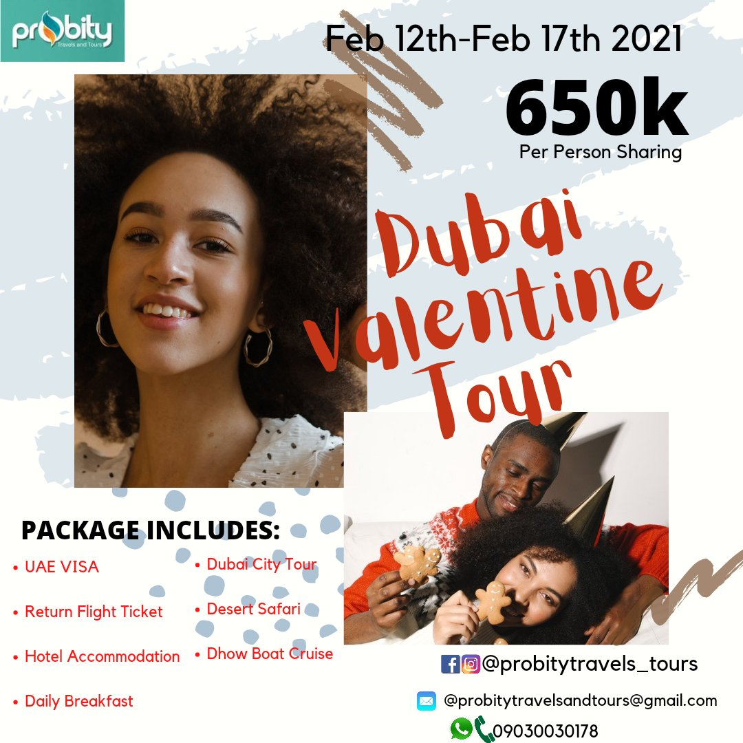 DUBAI VALENTINE TOUR PACKAGE!!! 📢📢📢💃🕺 Package includes:  ❤ Return Flight Ticket ❤ UAE VISA ❤ Hotel Accommodation  ❤ Daily Breakfast ❤ Dubai City Tour ❤ Desert Safari ❤ Dhow Boat Cruise  PRICE: N650,000  only #munshu #silhouettechallenge #silhouette #ChloeBailey #CFC