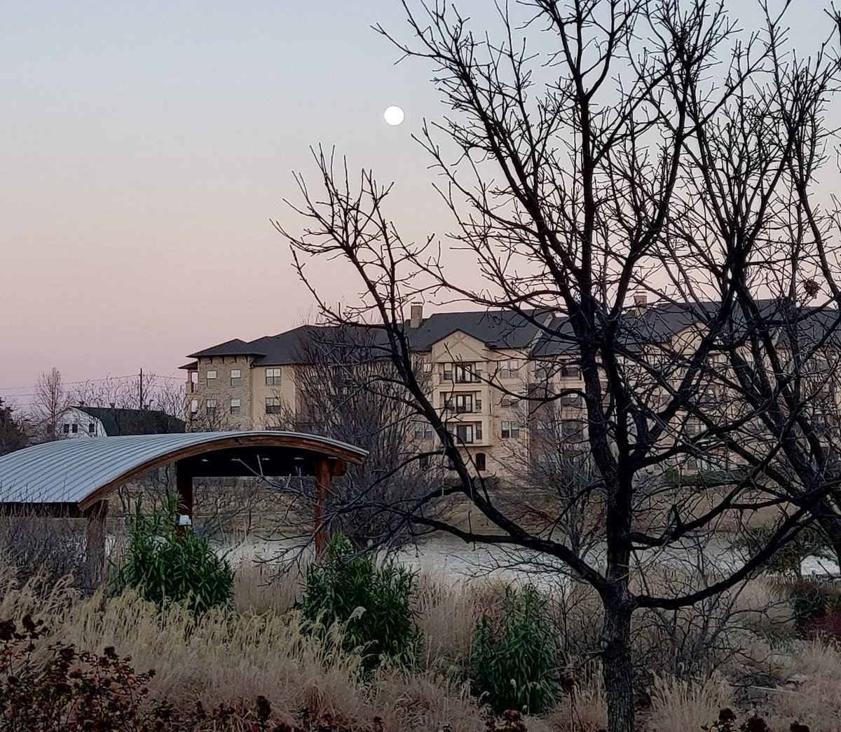 #FullMoon and Winter #Sunset view over the lake at the library 💜 #nofilter