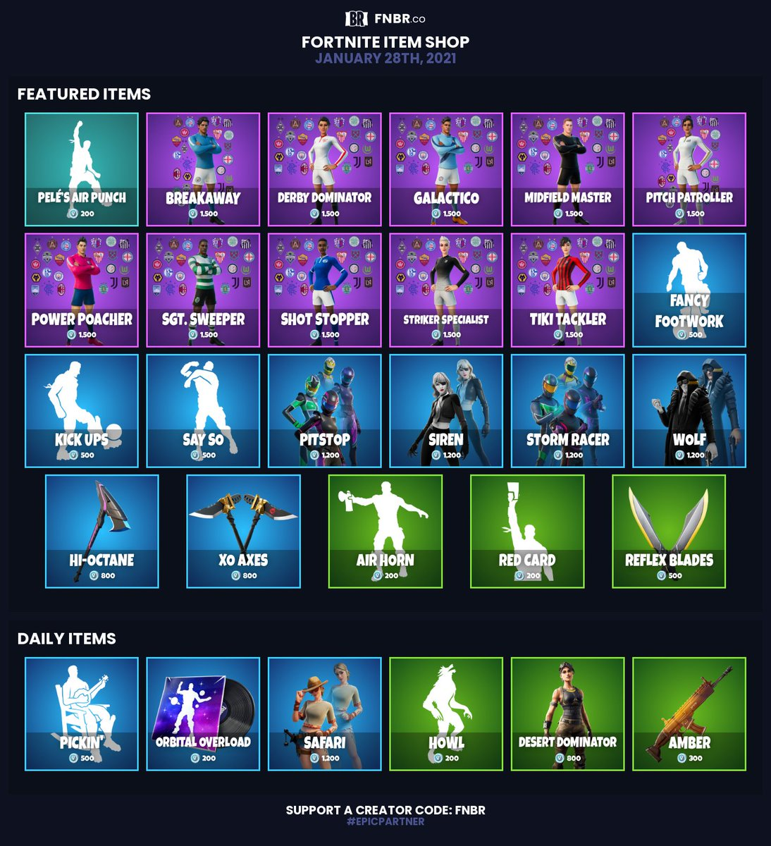 #Fortnite Item Shop for January 28th 2021 |  Use creator code 'fnbr' if you'd like to support us! (#epicpartner) Set personalised reminders on our iOS app: