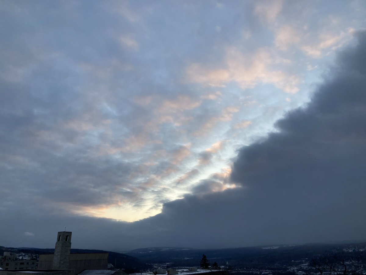A snowy #sunset overlooking Ithaca, #NYwx.