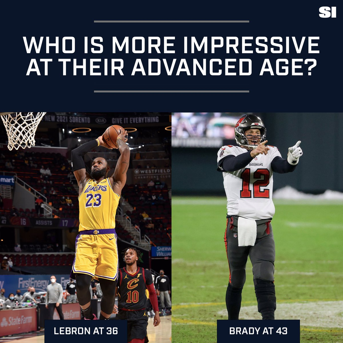 What's more impressive: What LeBron is doing at 36 or what Tom Brady is doing at 43? 🤔 buff.ly/3omVZ7R
