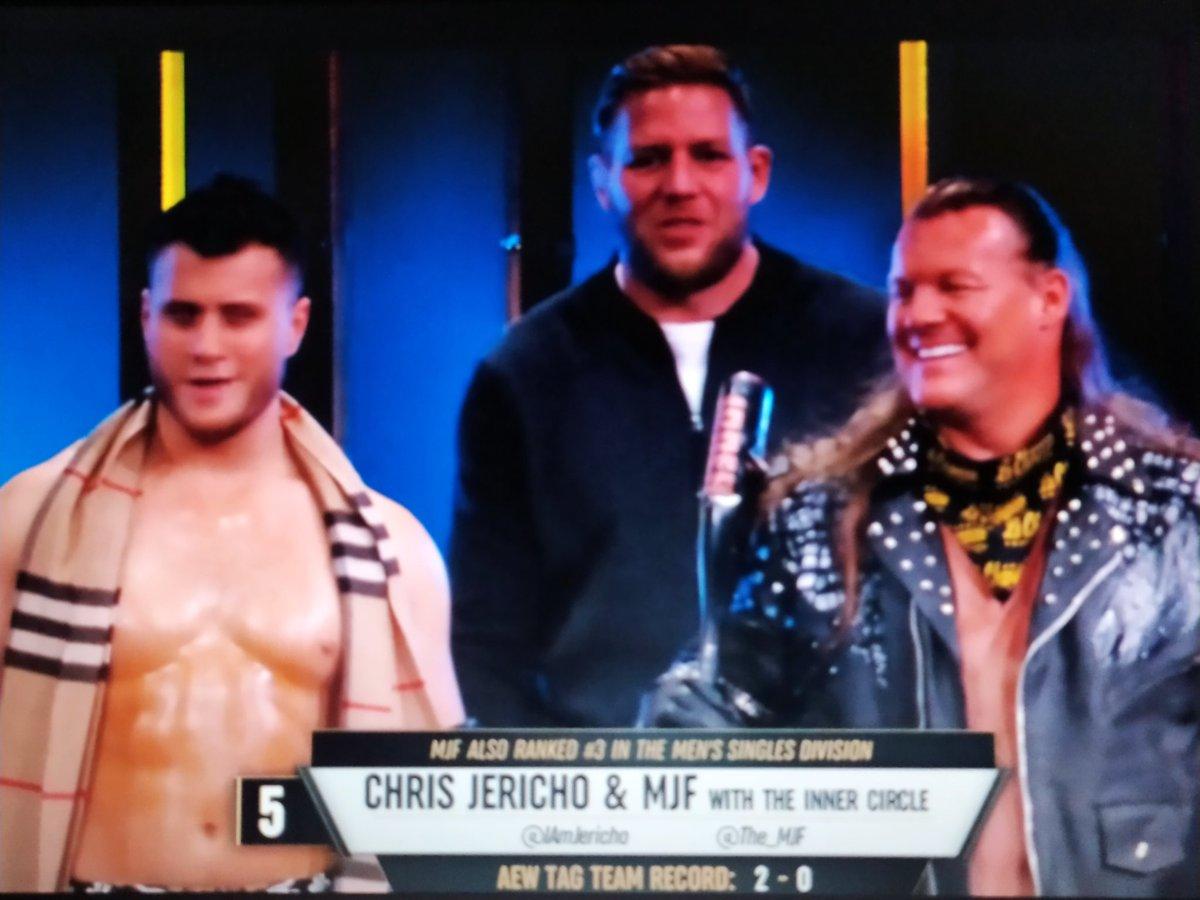 Second match.   Varsity Blondes vs. MJF and Chris Jericho  #AEWDynamite #AEWonTNT