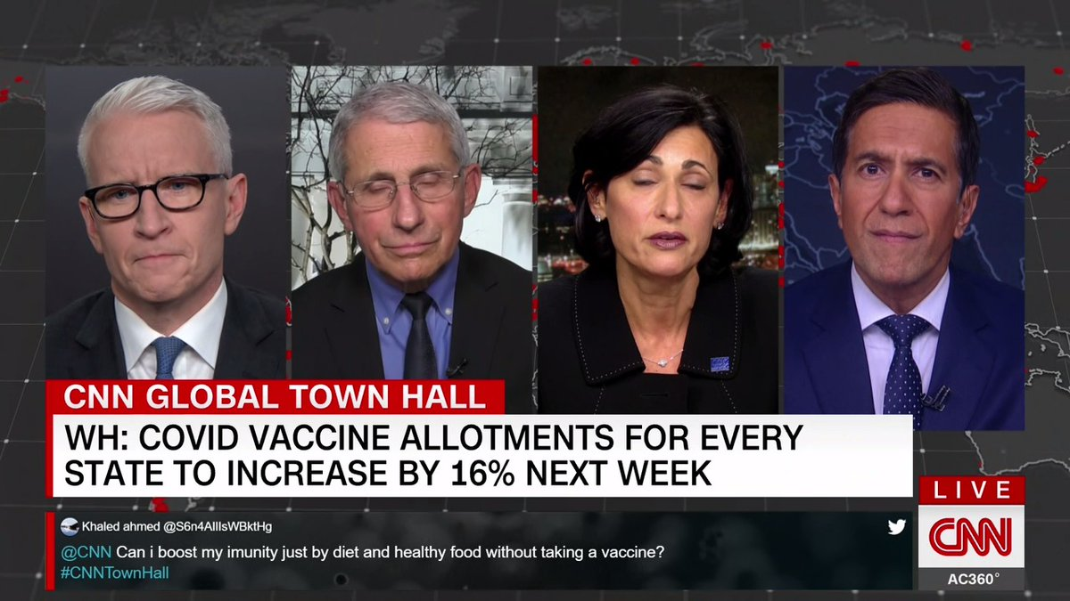 """Dr. Fauci on Biden's use of the Defense Production Act: """"You just can't open up another factory from a company that isn't Moderna, or isn't Pfizer, and say make mRNA vaccine. It's just not going to happen that way, because of the process. It's one that is difficult."""" #CNNTownHall"""