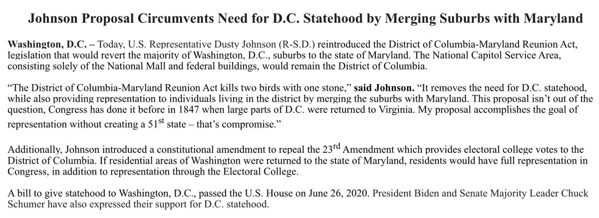 "A South Dakota Congressman's proposed solution to the DC statehood issue is to ""revert the majority of Washington, D.C., suburbs to the state of Maryland.""  Only the National Mall would remain as the District of Columbia."