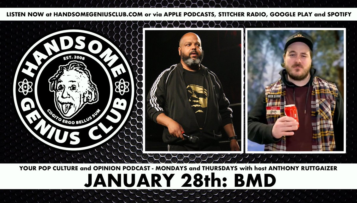 BRAND NEW #HandsomeGeniusClub goes online Thursday @ 6am w/ my guest @BMDbud. Hear his list of favourite wrestlers to share a road trip with and which champion he most wants a shot at in 2021! Available via iTunes, Google Podcasts, Stitcher, Soptify and at