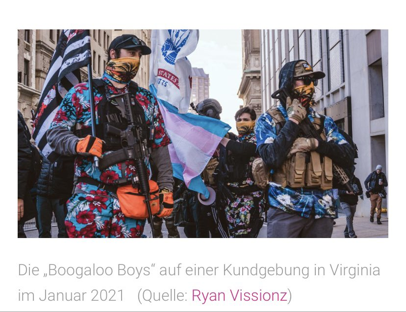 Recently contributed some photos to a German anti-hate NGO for an article on the Boogaloo Boys. Look how they spelled my name.