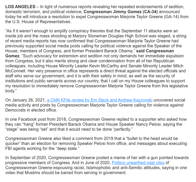 """JUST IN: Rep. Jimmy Gomez announces he will introduce a resolution to expel Rep. Greene from the U.S. House of Representatives, citing """"numerous reports revealing her repeated endorsements of sedition, domestic terrorism, and political violence."""""""
