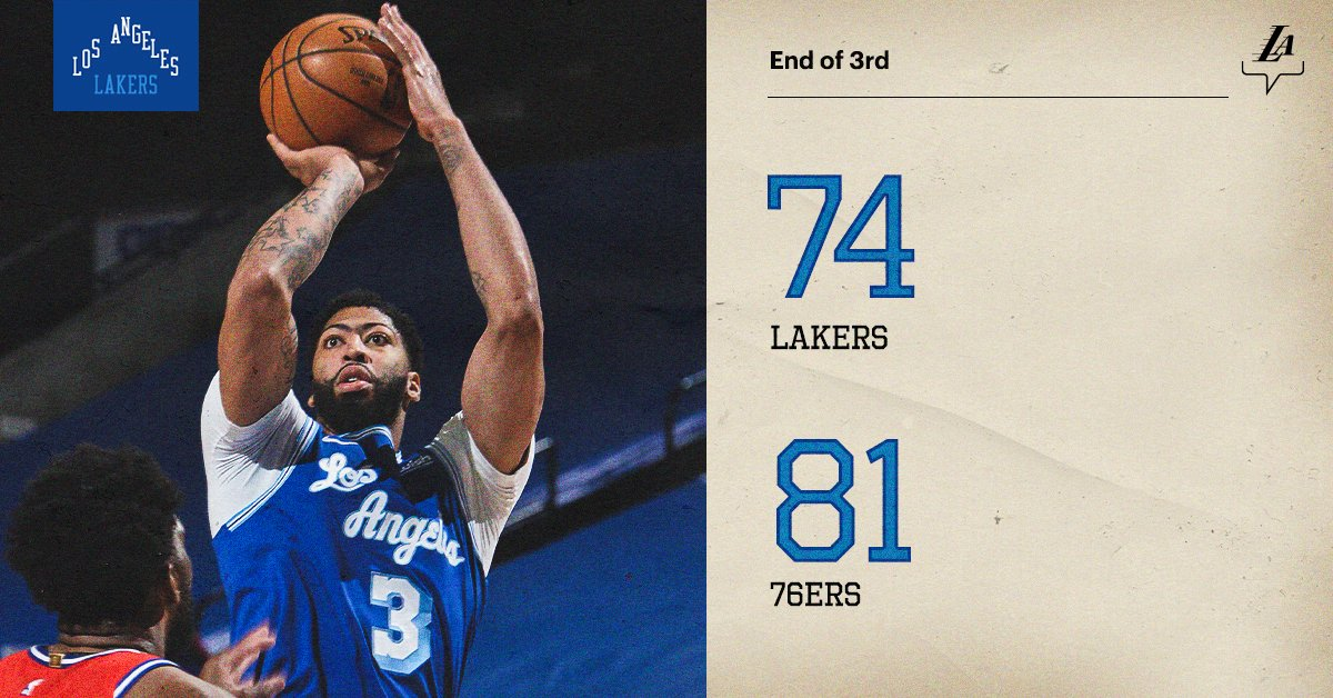 Replying to @Lakers: Seven-point game as we head to the fourth.