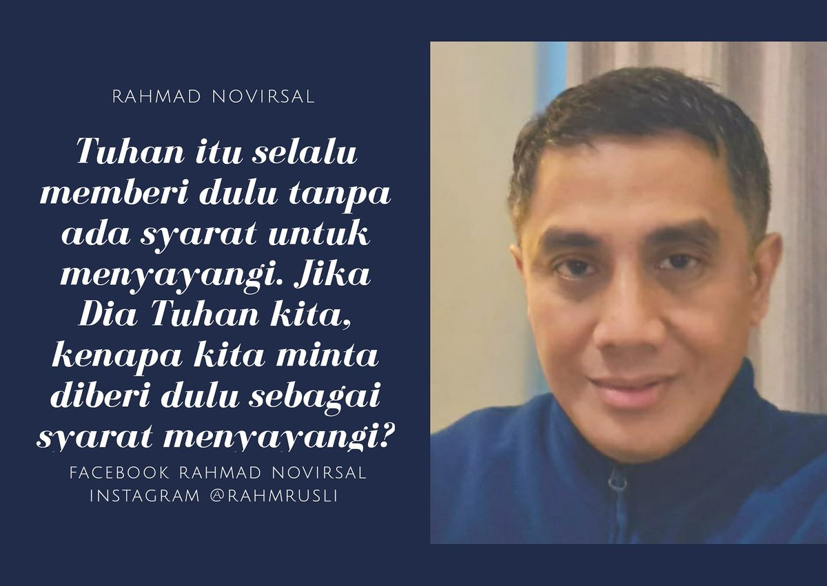 God always gives first and loves us unconditionally. If He is our Lord, why do you always ask to be given first as your condition for you to love?  #rahmadnovirsal #rahmrusli #marioteguh #mtsc #parasuhu #groupreboan #pemulihjiwa #motivatorindonesia #motivator #syaratmencintai