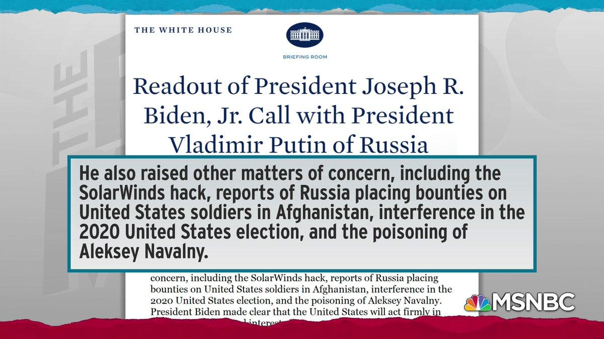 Since we now have a functioning government and a functioning U.S. president who doesn't act like he's working for Russia instead of for the United States, we can know from our own government what President Biden and Vladimir Putin talked about on their phone call.