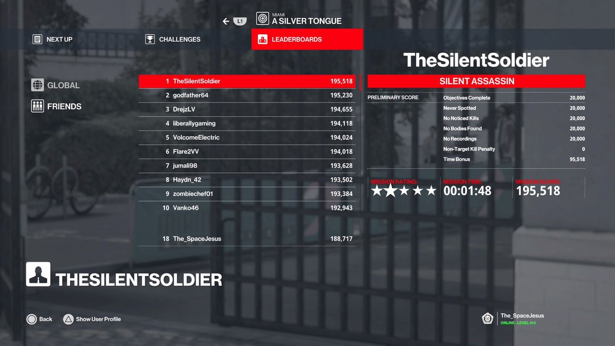 For years, I've grinded this game, cause it's my all time fav, even tho only a handful of friends play it.  Tonight, I've reached an accomplishment I never thought possible, I'm now 18th in world on a #Hitman mission!  @JustHoneyBadger 👀
