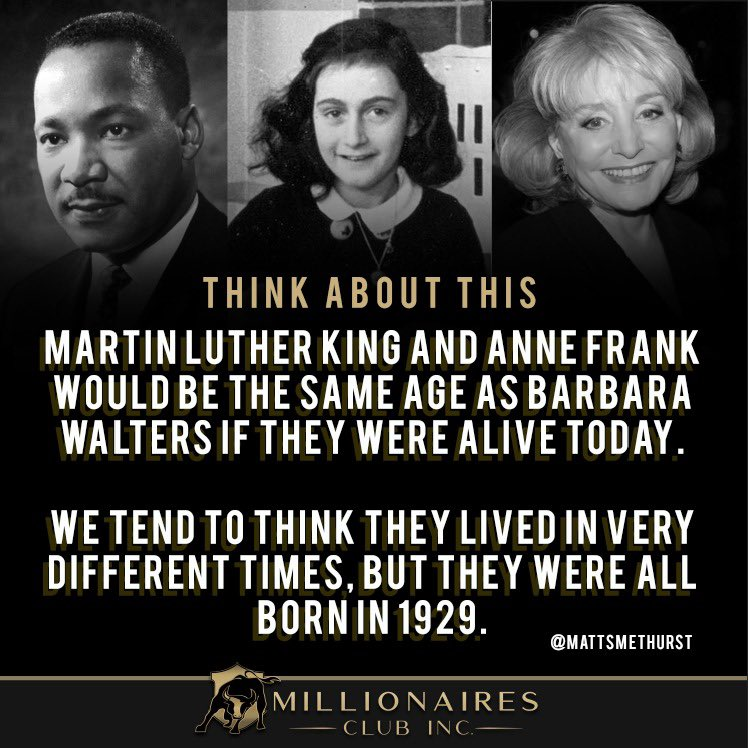 """Anne Frank our precious 15 yr old hero for strength and optimism. 761 days in the 450 square foot secret annex. #holocaustrememberanceday """"How wonderful it is that nobody need wait a single moment before starting to improve the world."""" #mlkday  #annefrank #barbarawalters"""