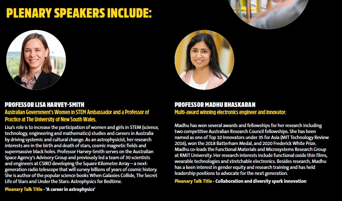 We're so pleased and excited to announce that  @lisaharveysmith @WomenInSTEMAu And @madhu_bhaskaran @RMIT will be the plenary speakers for our next #STEM #Enrichment Conference  @Flinders for Yr 9 girls @SAScience in #SouthAustralia
