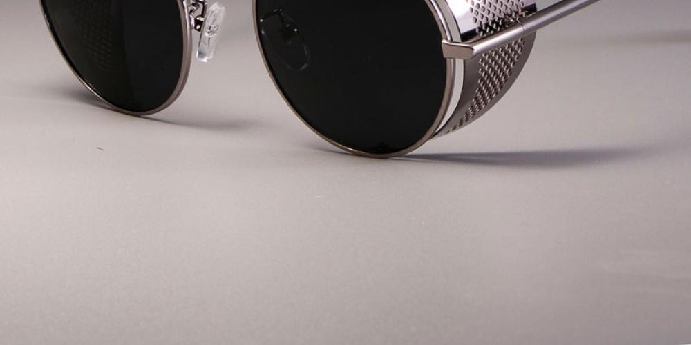 #leather #sun Men's Round Steampunk Retro Sunglasses
