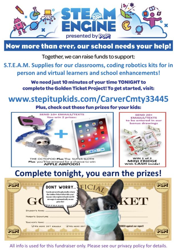 WOW! Our students had a blast with today's virtual STEAM Engine fundraiser Launch Party! Visit the site below to register your students  #GoldenTicket  #pop #popflorida #powerofpurpose #steamengine #STEM #empoweredkidschangetheworld