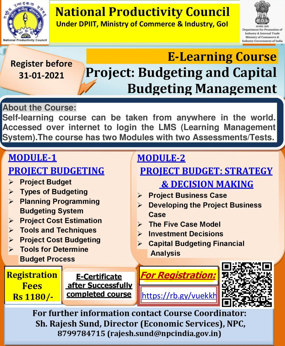 """#NPC #e Learning Course """"Project: Budgeting and Capital Budgeting Management""""  Register   @NPC_INDIA_GOV @CimGOI @DIPPGOI @DoPTGoI #Budget #Management #Resource #Knowledge #learning #Valuation #Financial Analysis #Portfolio #Asset #strategy  #Investment"""