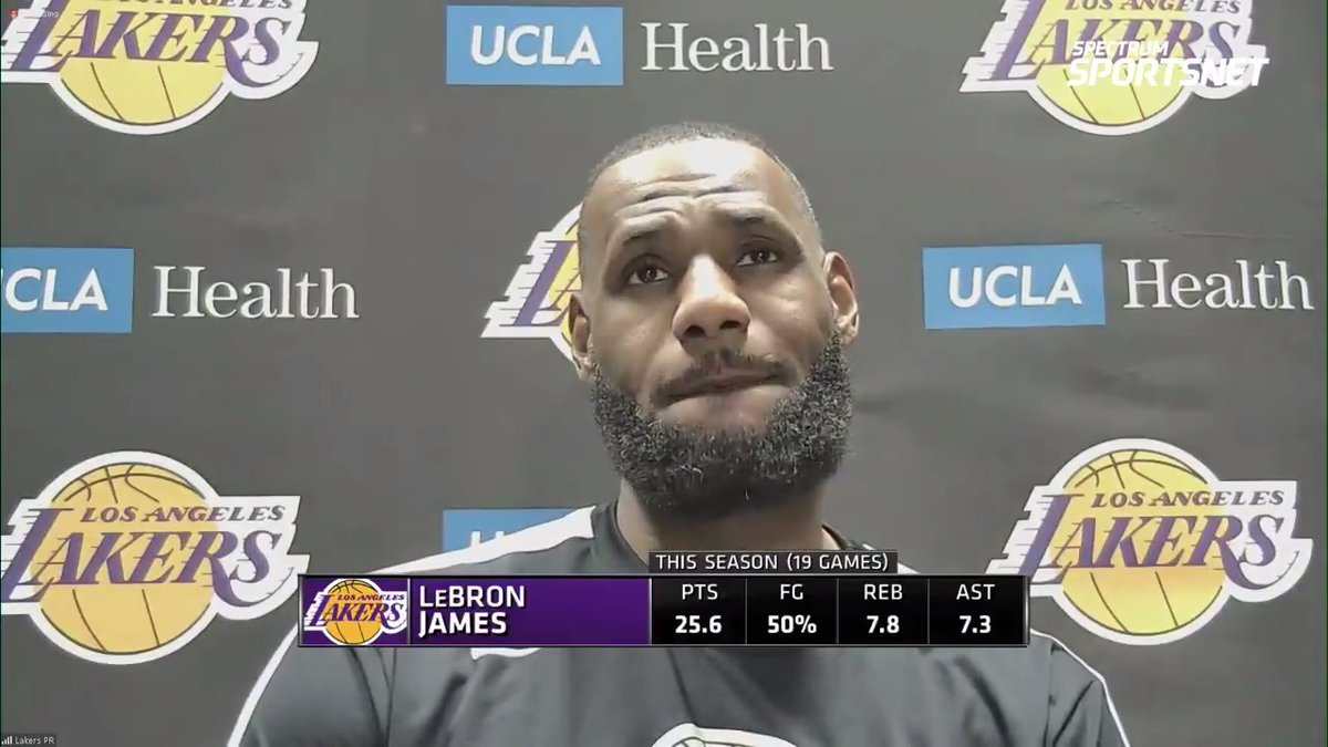 """""""I loved our fight. Just got to do a better job of keeping our hands out of the cookie jar."""" @KingJames on the #Lakers comeback and his takeaways from tonight's tough loss."""