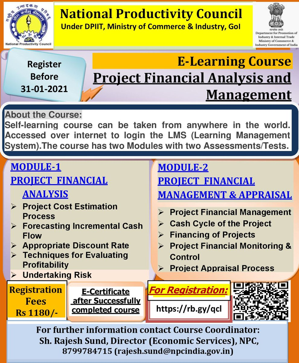 """#NPC #e-Learning #Course  """"Project Financial Analysis and Management""""   Register:   @NPC_INDIA_GOV @CimGOI @DIPPGOI @DoPTGoI #Budget #Management #Resource #Knowledge #learning #Valuation #Financial Analysis #Portfolio #Asset #Strategy  #investments  #Tools"""