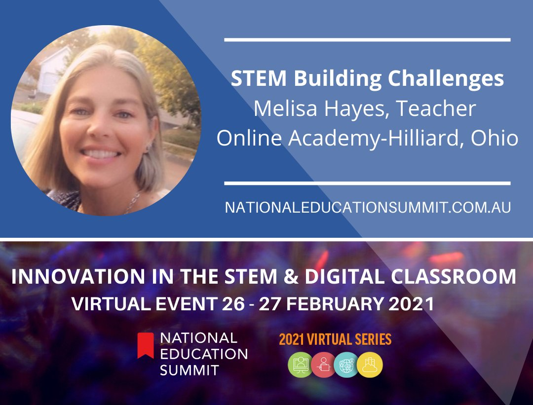 @hayes_melisa Teacher, Online Academy-Hilliard will present at Innovation in the STEM & Digital Classroom online event all the way from Ohio, USA. Learn fun #STEM ideas using everyday items to try with your class. Fri 26 & Sat 27 Feb 2021 Purchase tickets: