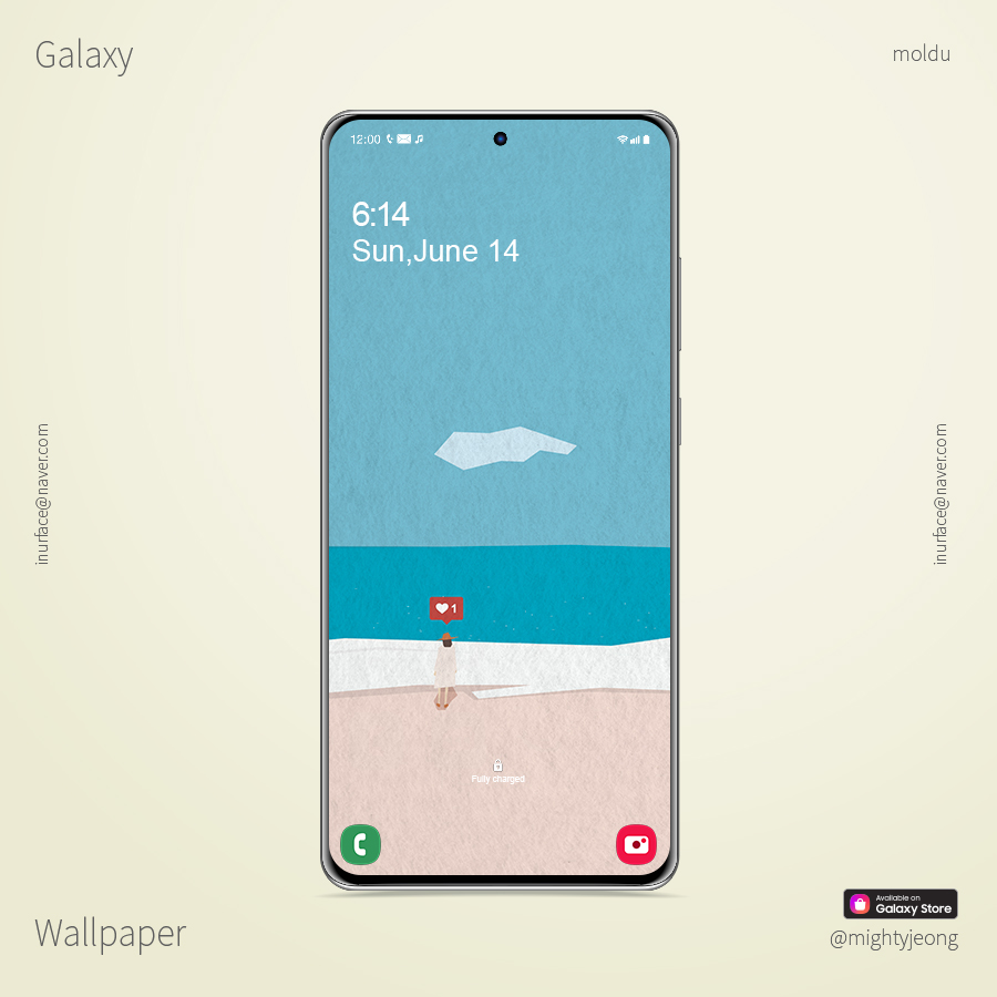 """Search for """"moldu"""" in the Galaxy Store. You can also order a cell phone case.  _ #samsungtheme #galaxytheme #galaxywallpaper #갤럭시배경 #갤럭시배경화면 #illustration #sky #korea #sea #여행 #바다 #하늘"""
