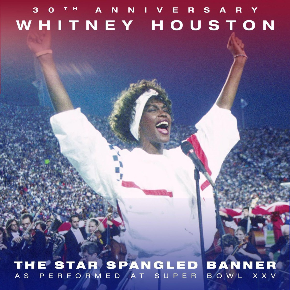 30 years ago today, #WhitneyHouston performed her jaw-dropping interpretation of the #StarSpangledBanner at #SuperBowl XXV.  Whitney's arrangement set the bar ridiculously high, impossibly high. No one has come close to her take on the anthem and no one ever will.  #TheVoice