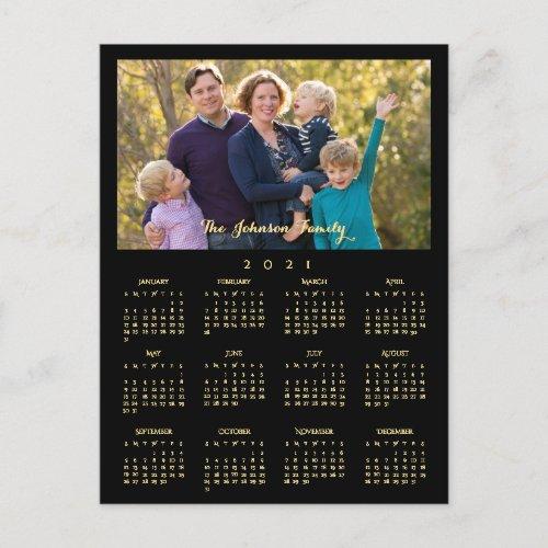 Custom 2021 Photo Calendar Christmas New Years Holiday Postcard  #HappyNewYear #NewYear #Calendar2021