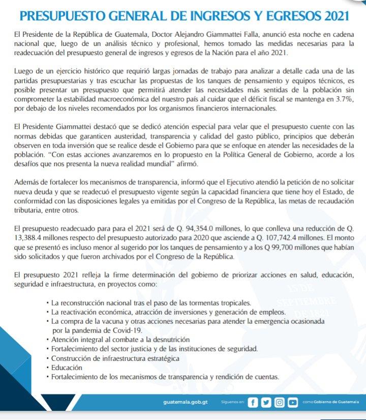 RT @stereo100xela: #PorSiNoLoVio | @GuatemalaGob  publica comunicado sobre el #Presupuesto2021 . https://t.co/ukAL0Q6Nx2