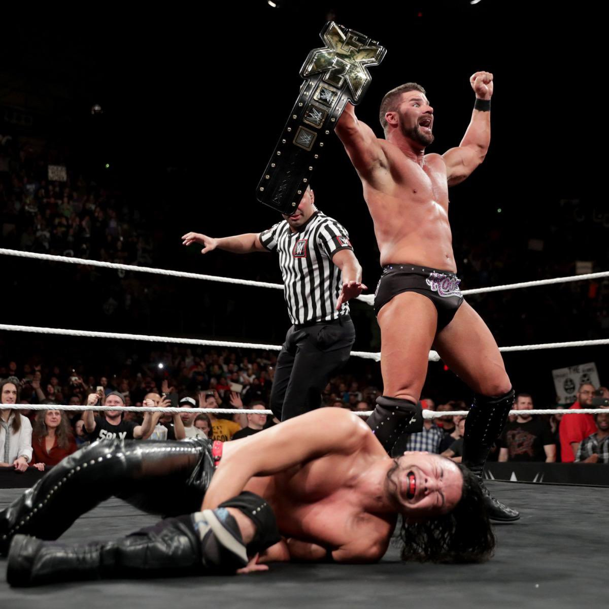 In nearly 30 minutes of action at TakeOver: San Antonio.. @RealRobertRoode defeated Shinsuke Nakamura for the #NXT Championship! Glorious!!