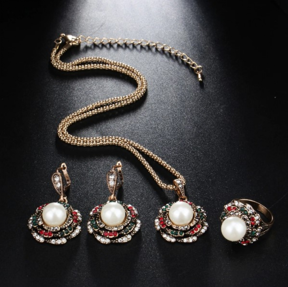Women's Pearl Flower Necklace, Earrings and Ring Set #food #tflers