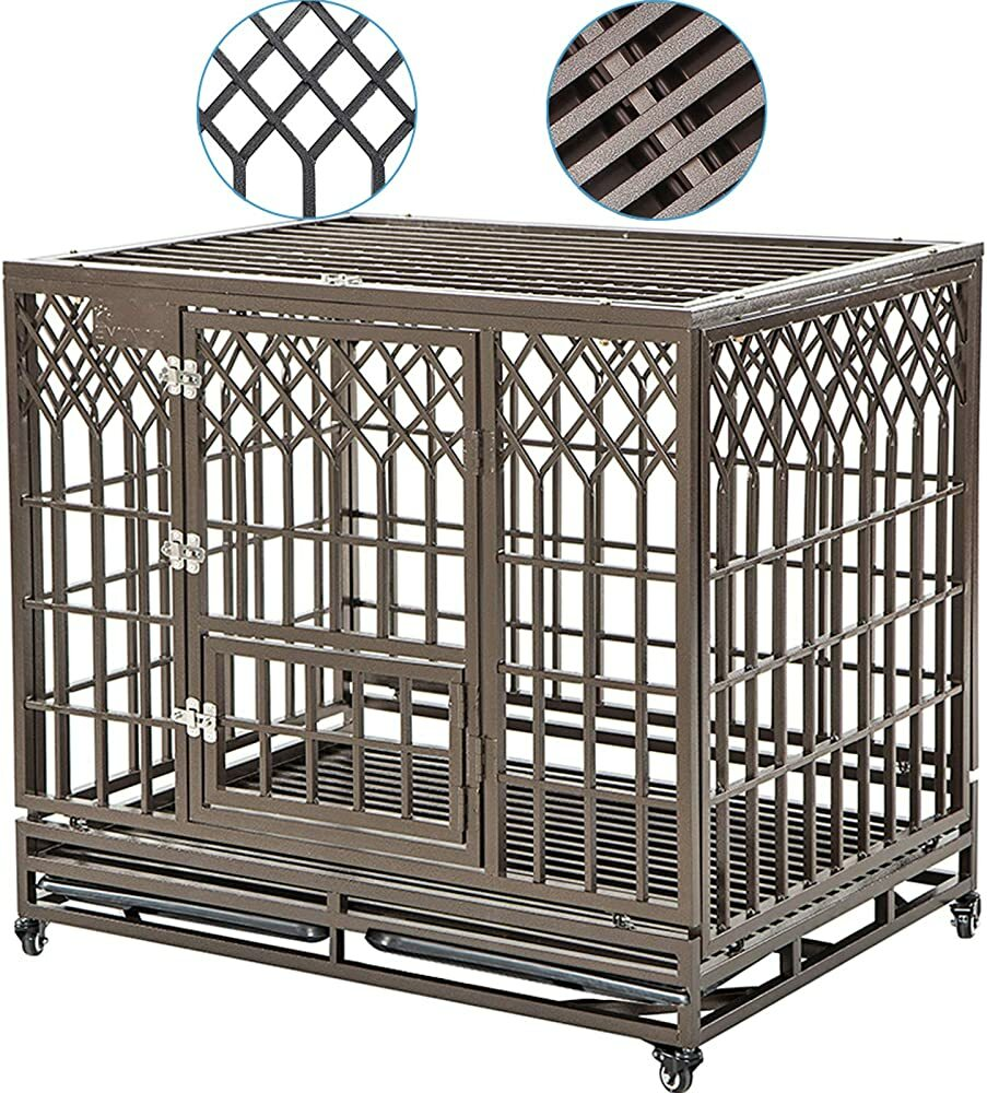 SMONTER Heavy Duty Dog Crate Strong Metal Pet Kennel Playpen with Two Prevent Escape Lock, Large Dog  #gifts #giftideas #dog #cat #puppy #pets  #blackfriday #thanksgiving #cybermonday @amazon #amazon #primeday