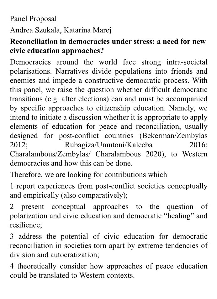 🥁Cfp for #ecprgc21 on #democracy under duress, reconciliation & how #citizenship education can assist in response w/h @katarina_marej @CivicsWWU D/L 7 Feb👇🏻@ECPR