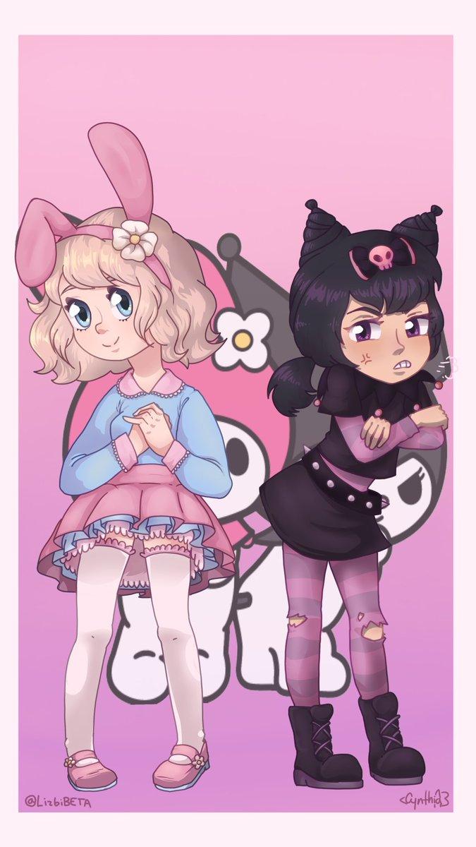 Hey guys! I draw this. It's My Melody and Kuromi  So I try to make some ᴍᴀᴛᴄʜɪɴɢ ɪᴄᴏɴꜱ or something like that  🌼🍭✨⛓💀🖤 #Sanrio #MyMelody #Kuromi #MatchingIcons #Pink #Dark #cuteart #drawing