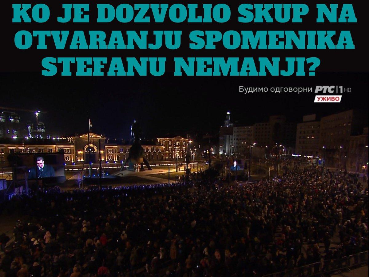 PSG poziva Krizni štab Vlade Srbije da građanima objasni da li je skup povodom otvaranja spomenika Stefanu Nemanji na Savskom trgu, kom je prisustvovalo nekoliko hiljada građana, sproveden po svim epidemiološkim merama koje trenutno važe u Srbiji.