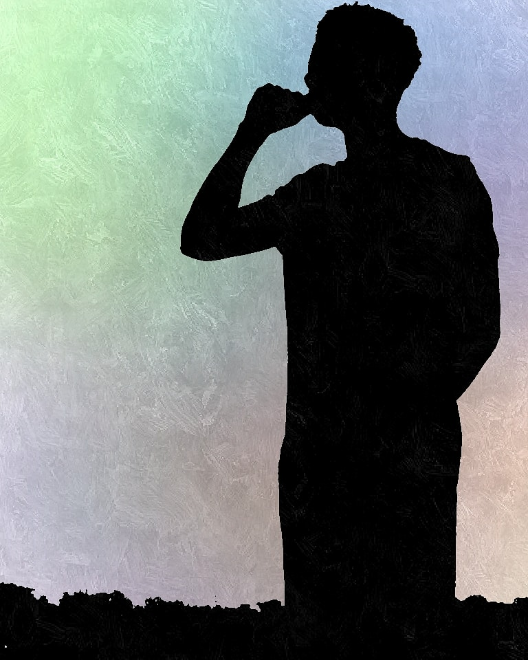 Title: Shade Created: 20 March 2020 Description: Dark figure standing over rubble with his hand making a fist. The background consists of dimmed colours which consists of Green, Blue, Purple, Pink, and Orange.  #shade #darkfigure #green #blue #purple #pink #orange
