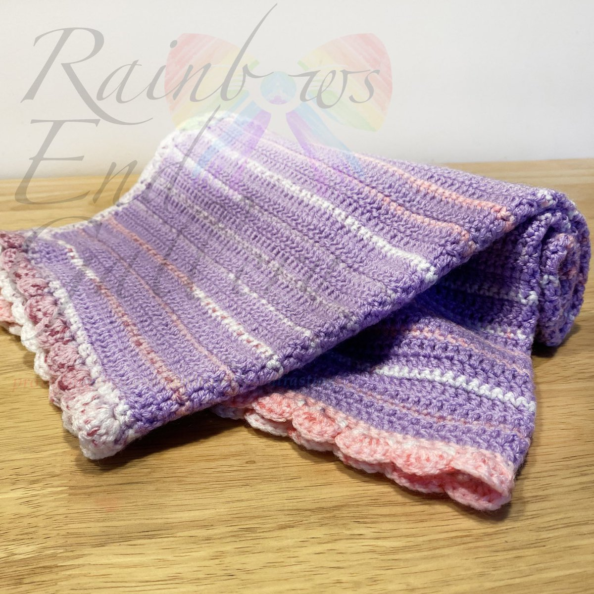 Excited to share this item from my #etsy shop: Crocheted Blanket - By Nannies Nutty Knits in Essex #pink #purple #striped