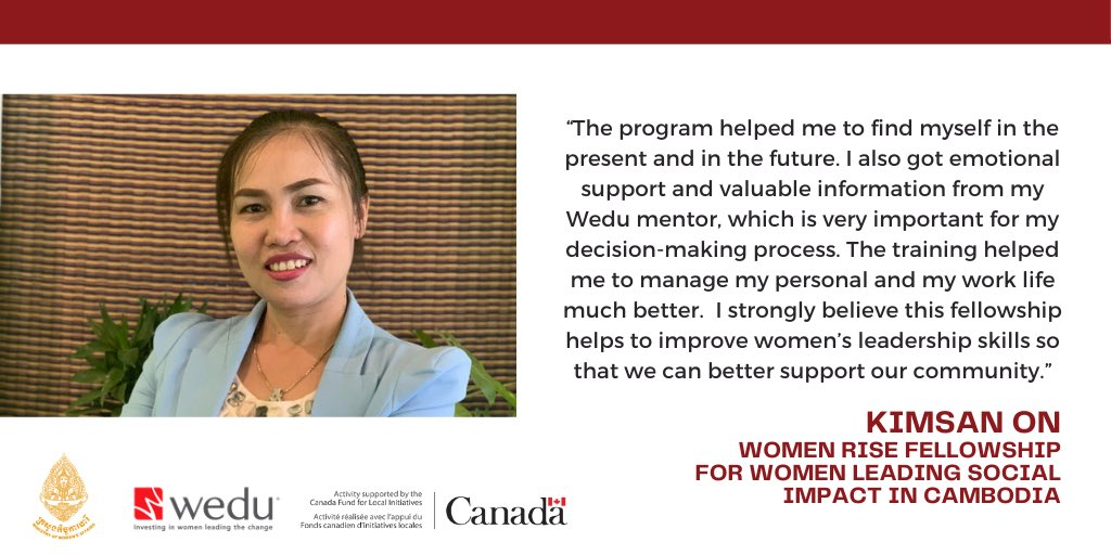 Women Leading Social Impact in Cambodia!  Wedu is very proud to continue supporting inspiring women like Kimsan On and other 20 amazing young leaders through the Women Rise Fellowship.  #CanadaFund #WomenLeader #SocialImpact #WomenRiseFellowship #Cambodia