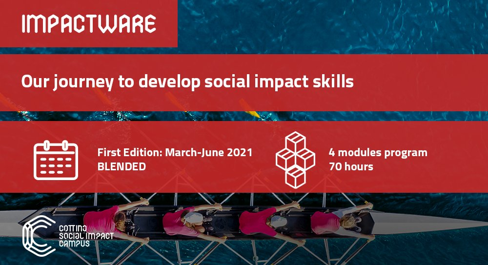 ⚙️ Impactware  a #socialimpact learning journey held twice a year, designed for different profiles: 🌱 Spring > devoted to young talents and early-career 🍁 Autumn > for entrepreneurs + managers covering different roles Next #Impactware: 📅 March-June '21