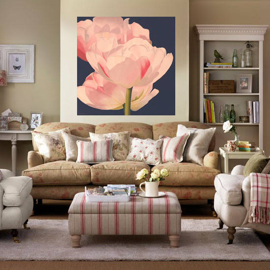 Pink Tulips Painting  Double Tulips in Dappled Sunlight  #flowers #pink homedecorating styling interiordesign