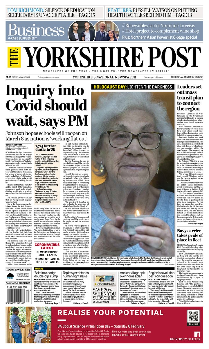 Today's @yorkshirepost front page.  #Yorkshire #newspapers #photography #buyapaper 📰 Get 6 weeks free delivery when you subscribe at