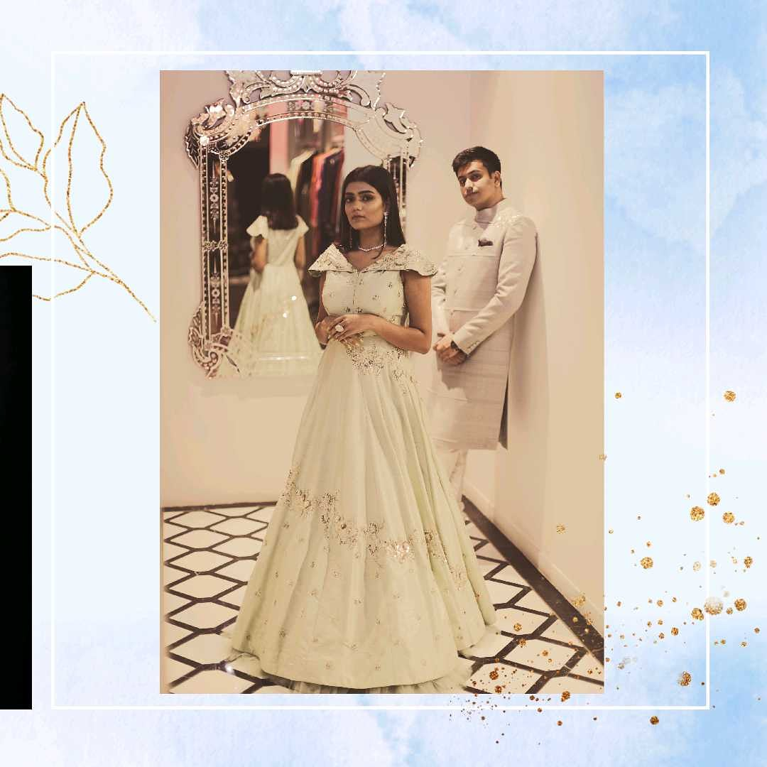 Pastel Moments : A perfect blend of hues for Reception or Engagement Dinners this season. #indianwedding #wedding #india #instalike #silk #embroidery #gown #magicmoments #receptiondress #ahmedabad_instagram #vocalforlocal