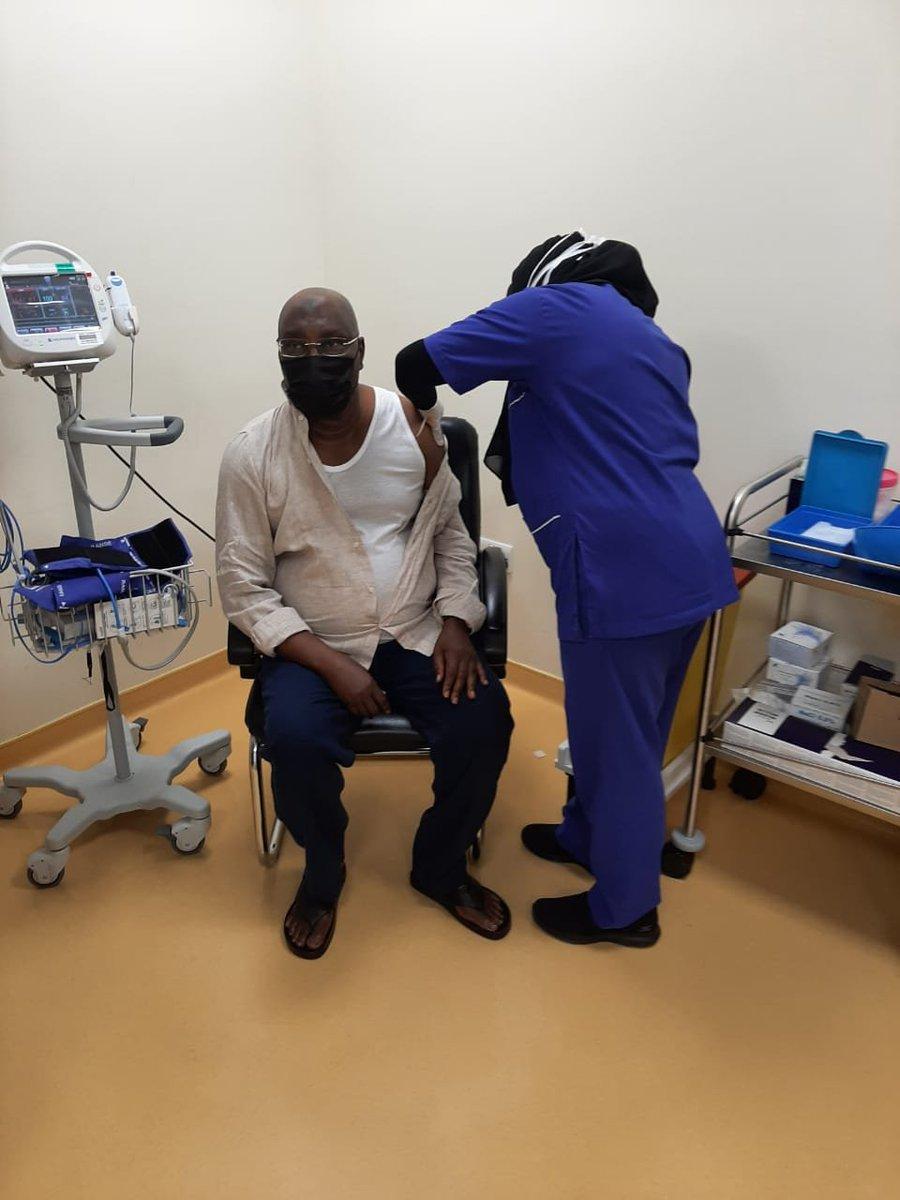 PHOTOS: Atiku gets second dose of COVID-19 vaccine. @atiku @NCDCgov @PTFCOVID19