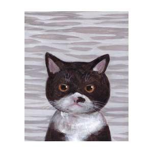 Jessie is quite upset about Marjorie Taylor Greene.  #catsjudgingmarjorie #cat #painting #prints