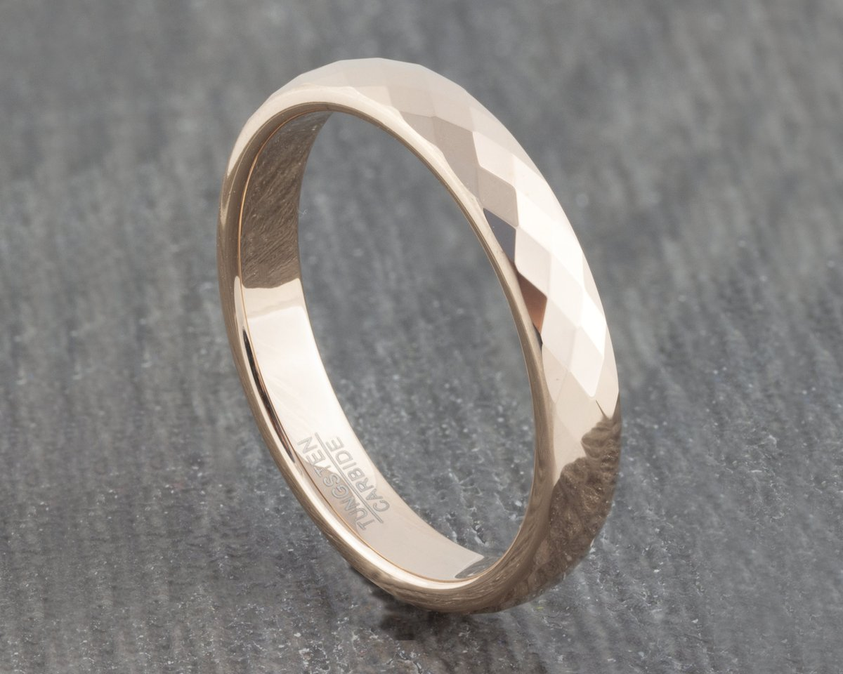 Excited to share the latest addition to my #etsy shop: Rose Gold 4mm Faceted Tungsten Ring - Mens Wedding Band Womens Engagement Promise Ring  #rosegold #wedding #no #women #tungsten #weddingring #engagementring #weddingband #mensring