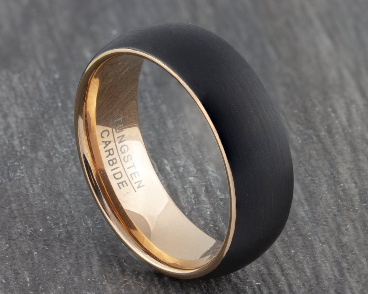 Excited to share the latest addition to my #etsy shop: 8mm Tungsten Ring with Rose Gold Inner side - Wedding Ring - Black Wedding Band - Womens & Mens Engagement - Men's Ring - New Promise Ring  #black #wedding #no #rosegold #women #tungsten #