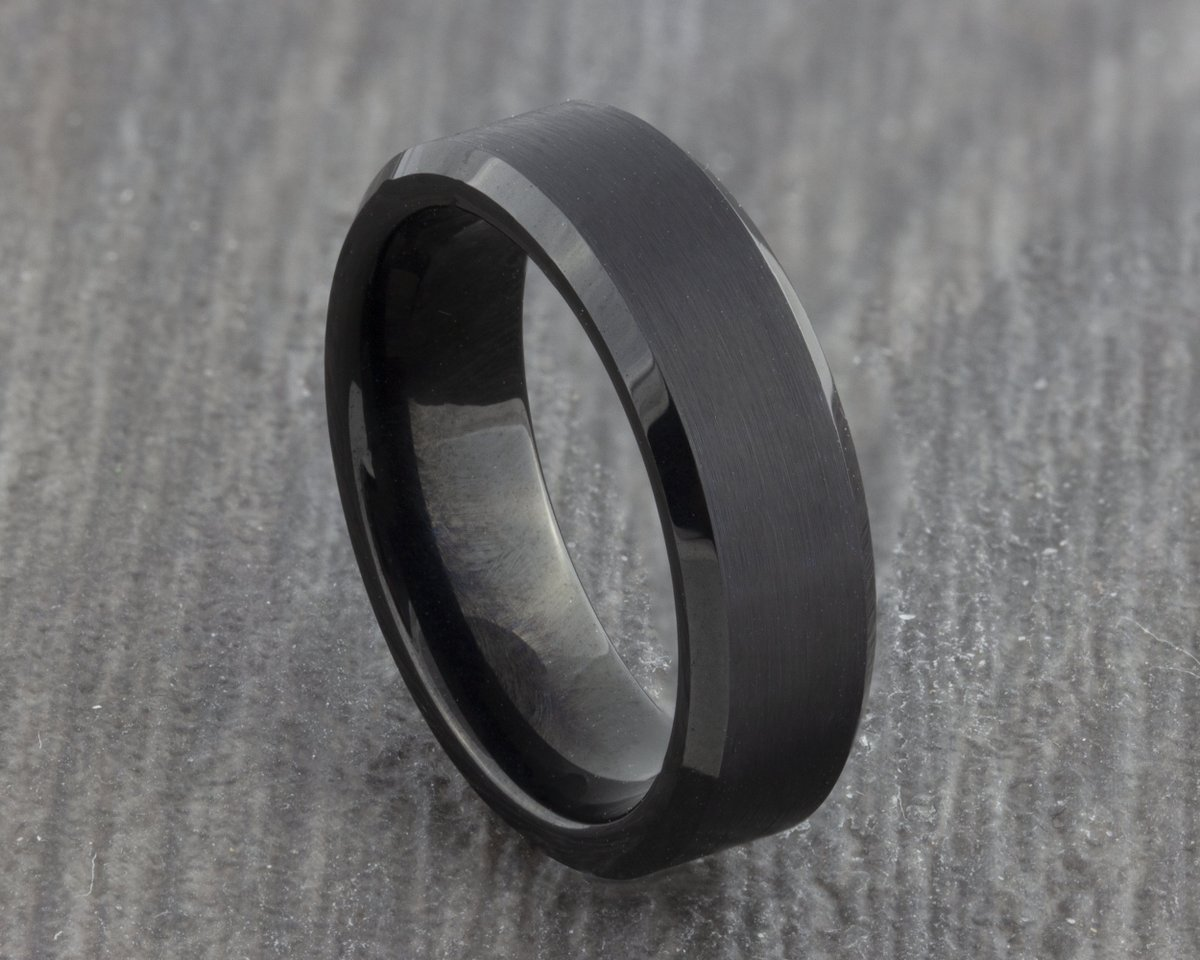 Excited to share the latest addition to my #etsy shop: 6mm Black Tungsten Ring with Polished Edges - Mens Wedding Ring - Wedding Band - Womens Engagement Ring - Promise Ring - New Men's Ring  #black #wedding #no #women #tungsten #weddingring #