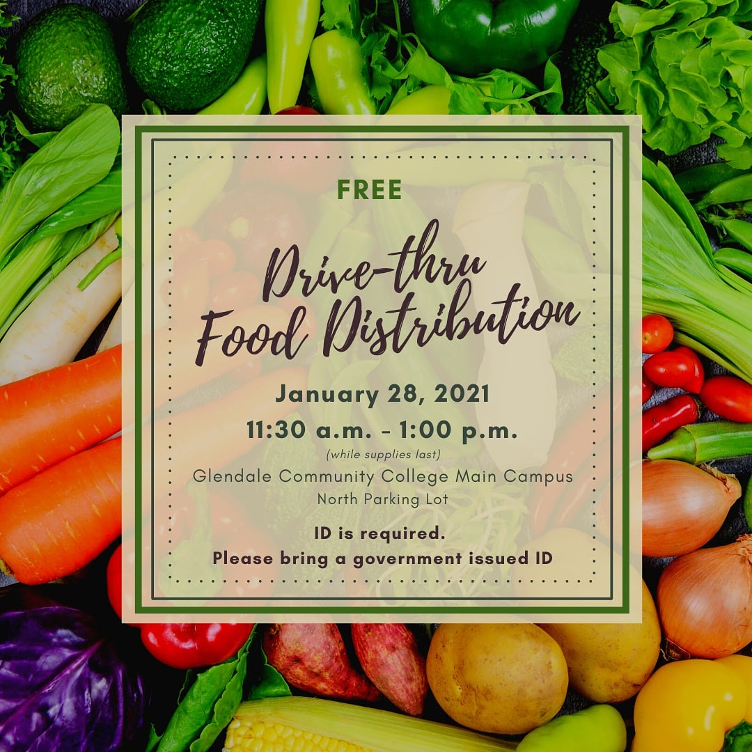 Later today, January 28th, GCC is hosting a FREE Drive-thru Food Distribution! From 11:30 A.M. to 1:00 P.M. Be sure to bring an ID! #gcc #gccaz #gccthevoice #thevoice #az #arizona #student #studentlife
