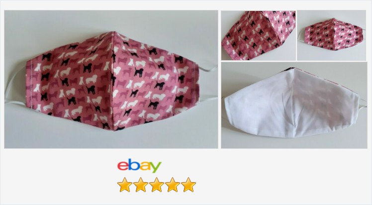 #handmade facemask washable pink dogs re-useable cotton face covering | eBay #reusable #washable #cotton #reversible #facemask #facecovering #pink #dogs #animals #doglover #environmentlyfriendly #staysafe #breathable #fashion #shopping #onlineshopping