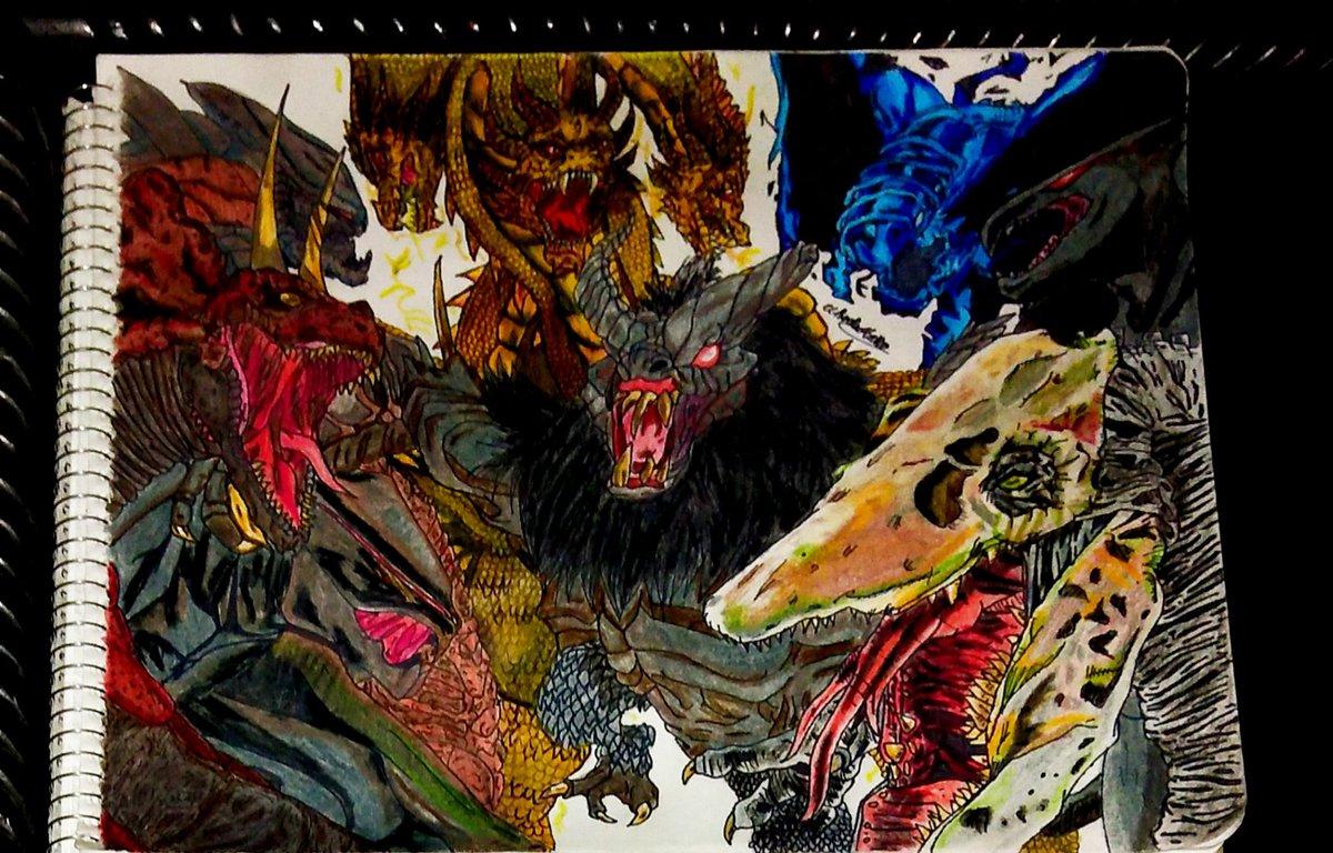 Kaijus malvados del #monsterverse   #kingghidorah #godzilla #gojira #kingkong #kong #godzillavskong #kaijumonster #monster #kaiju #drawing #draw #dibiujo #dibiujotradicional #traditionalart #kaijufanart #kaijufan #kaijuart