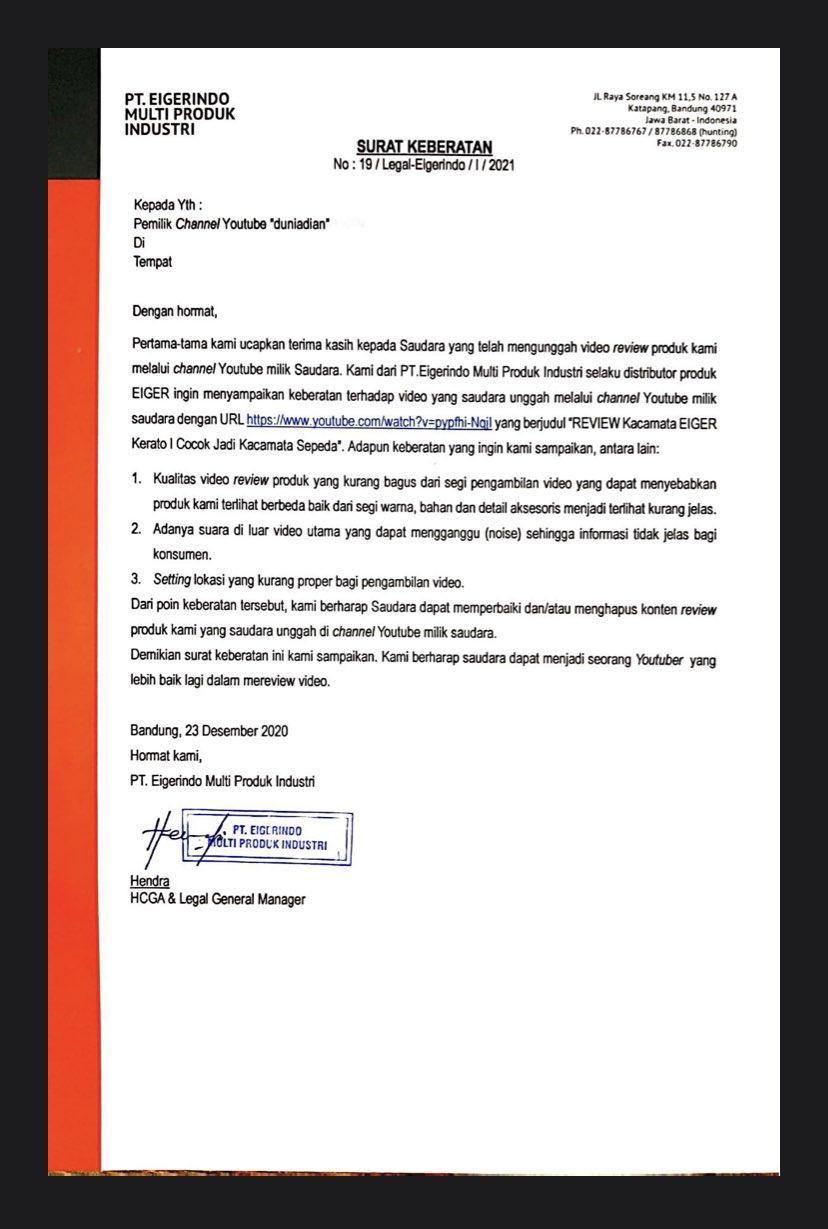 Surat keberatan dari Eiger